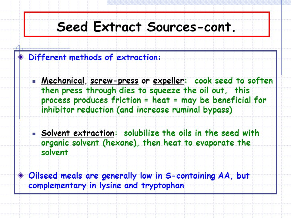 Seed Extract Sources-cont.
