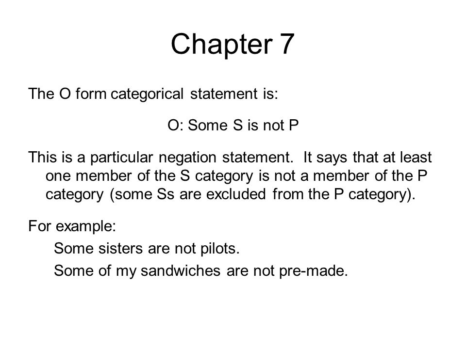 Chapter 7 We shall represent the E form statement with a Venn Diagram.