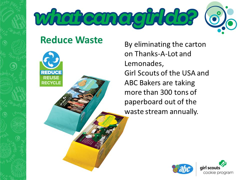 By eliminating the carton on Thanks-A-Lot and Lemonades, Girl Scouts of the USA and ABC Bakers are taking more than 300 tons of paperboard out of the waste stream annually.