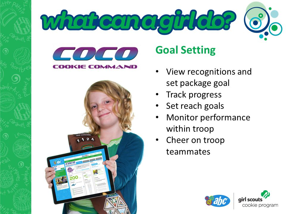 Goal Setting View recognitions and set package goal Track progress Set reach goals Monitor performance within troop Cheer on troop teammates