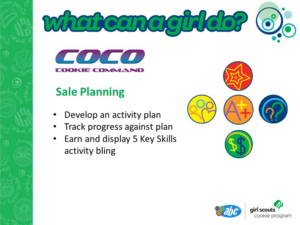 Sale Planning Develop an activity plan Track progress against plan Earn and display 5 Key Skills activity bling