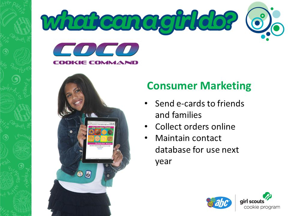Consumer Marketing Send e-cards to friends and families Collect orders online Maintain contact database for use next year