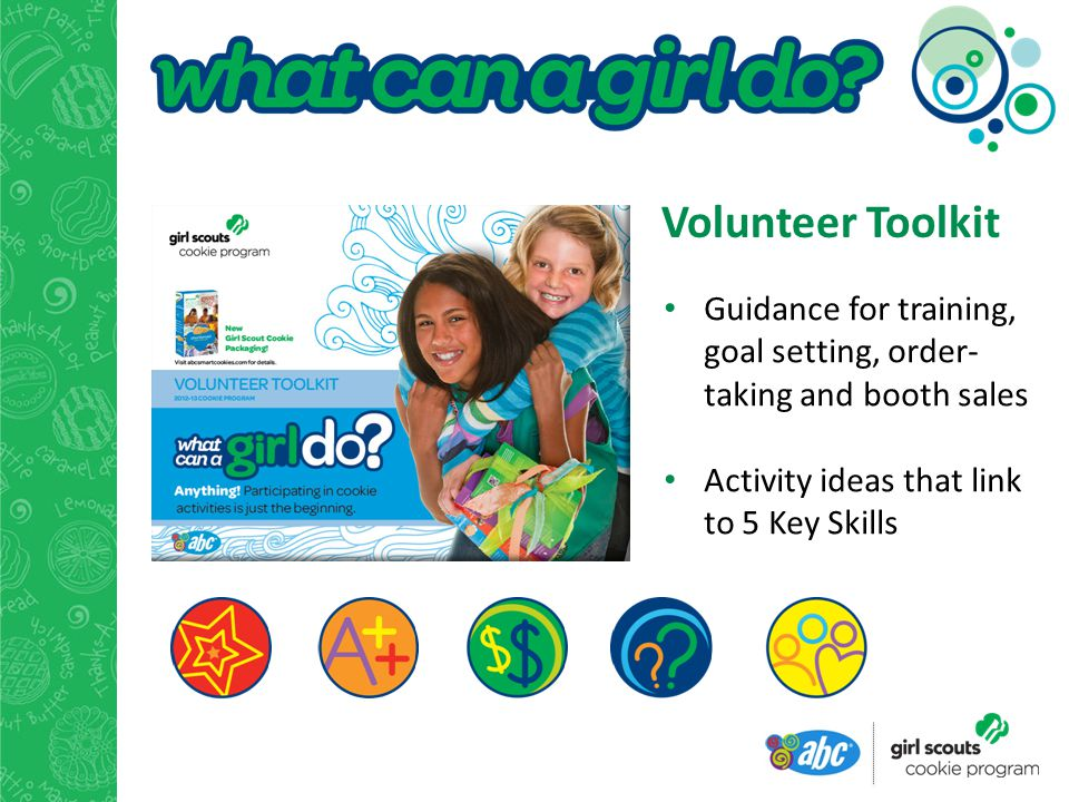 Guidance for training, goal setting, order- taking and booth sales Activity ideas that link to 5 Key Skills Volunteer Toolkit