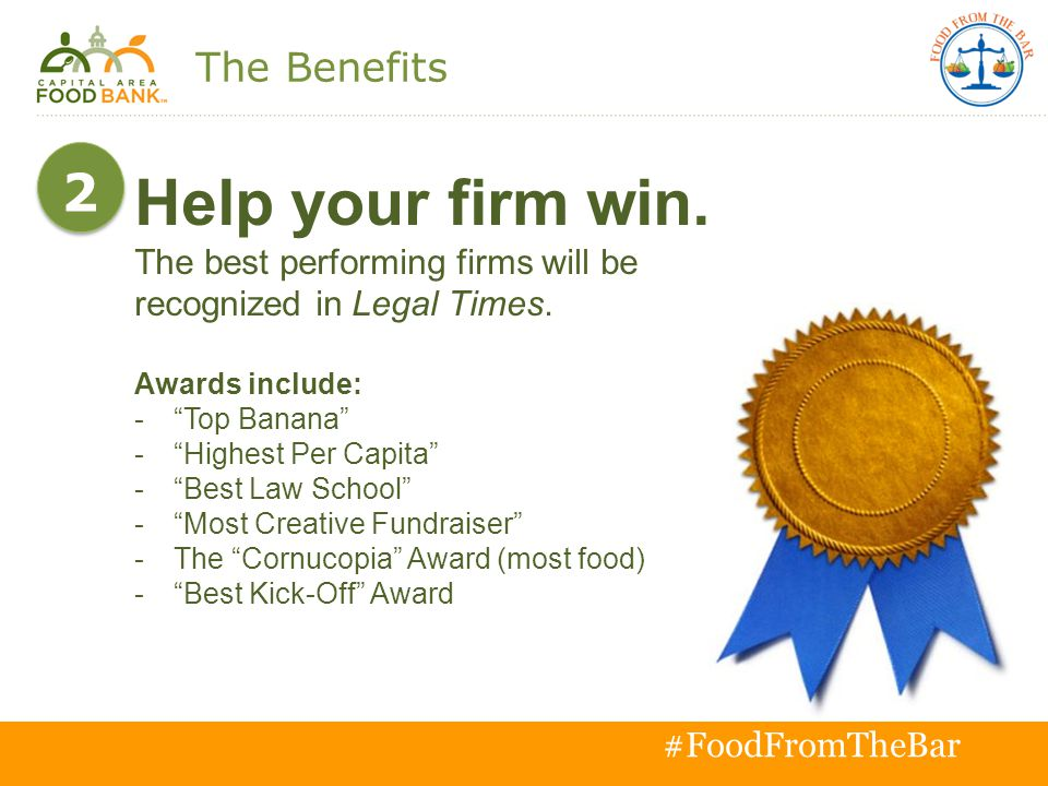 T o g e t h e r w e c a n s o l v e h u n g e r # #FoodFromTheBar Help your firm win.