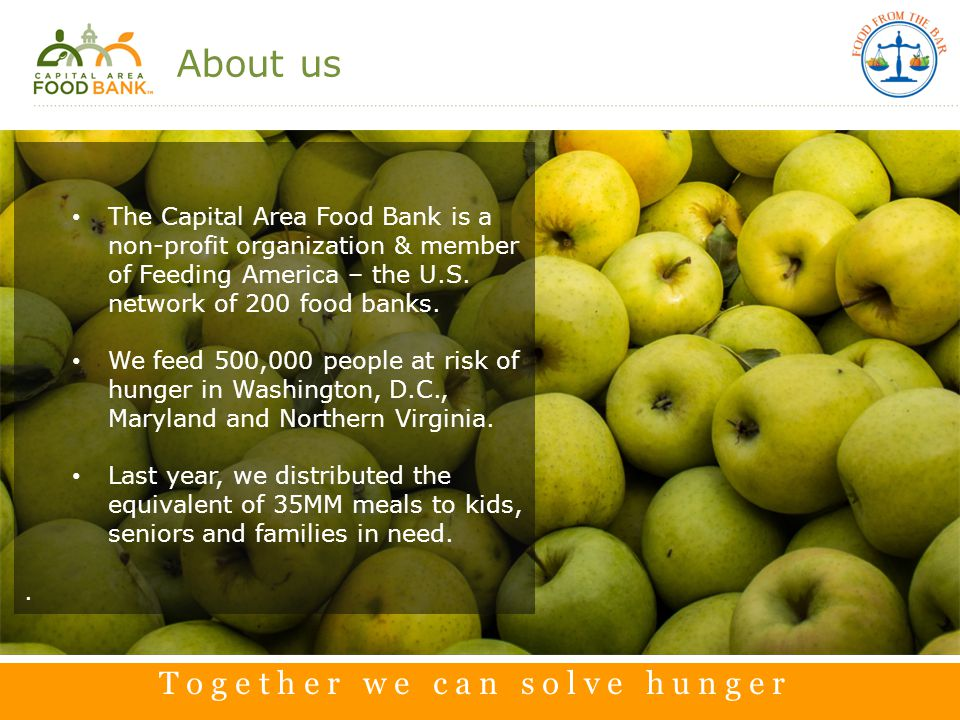 2 About us The Capital Area Food Bank is a non-profit organization & member of Feeding America – the U.S.