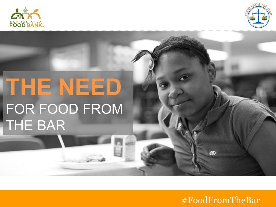 THE NEED FOR FOOD FROM THE BAR T o g e t h e r w e c a n s o l v e h u n g e r #FoodFromTheBar