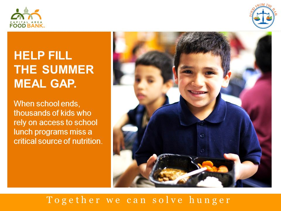 HELP FILL THE SUMMER MEAL GAP.