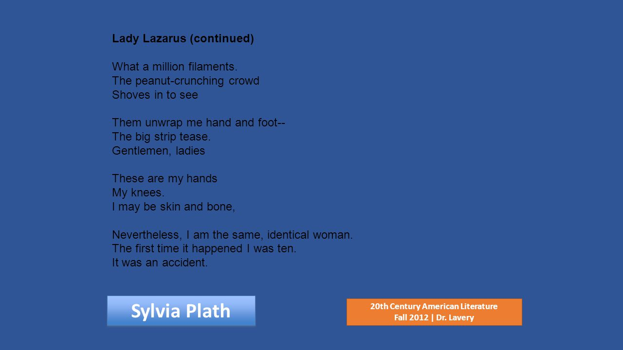 Sylvia Plath 20th Century American Literature Fall 2012 | Dr.