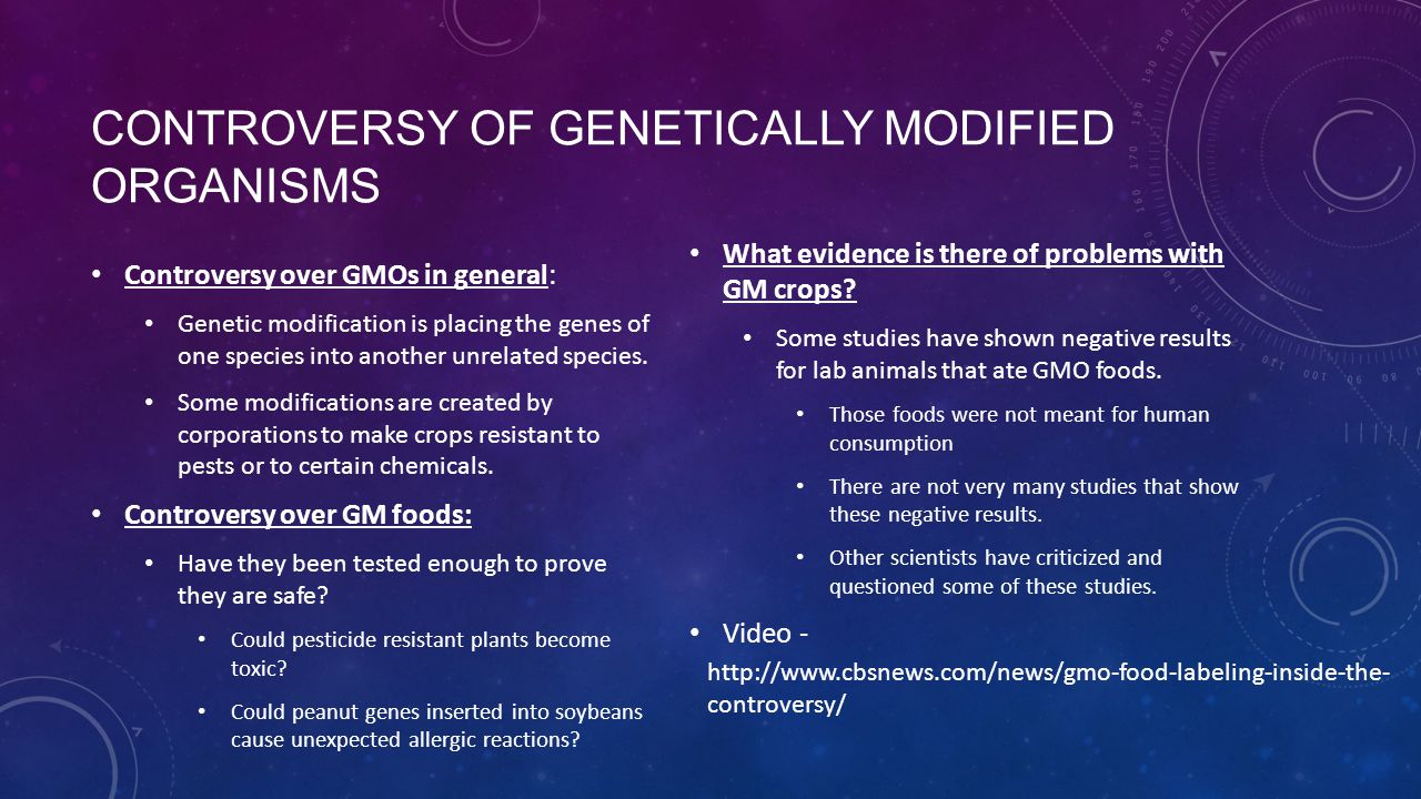 CONTROVERSY OF GENETICALLY MODIFIED ORGANISMS Controversy over GMOs in general: Genetic modification is placing the genes of one species into another