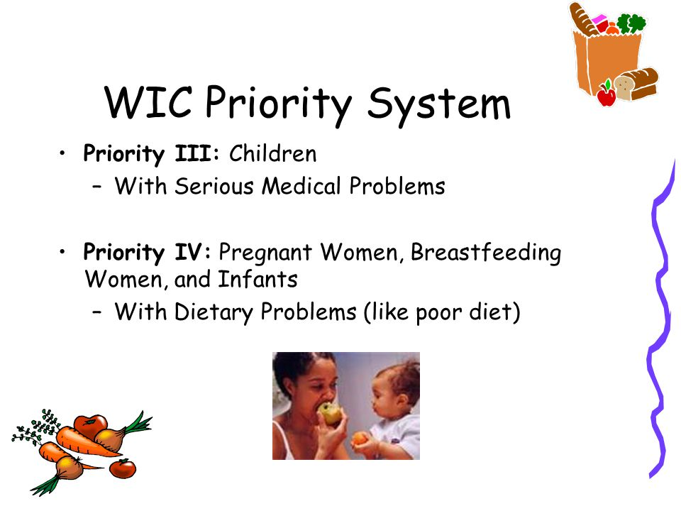 WIC Priority System Priority III: Children –With Serious Medical Problems Priority IV: Pregnant Women, Breastfeeding Women, and Infants –With Dietary Problems (like poor diet)