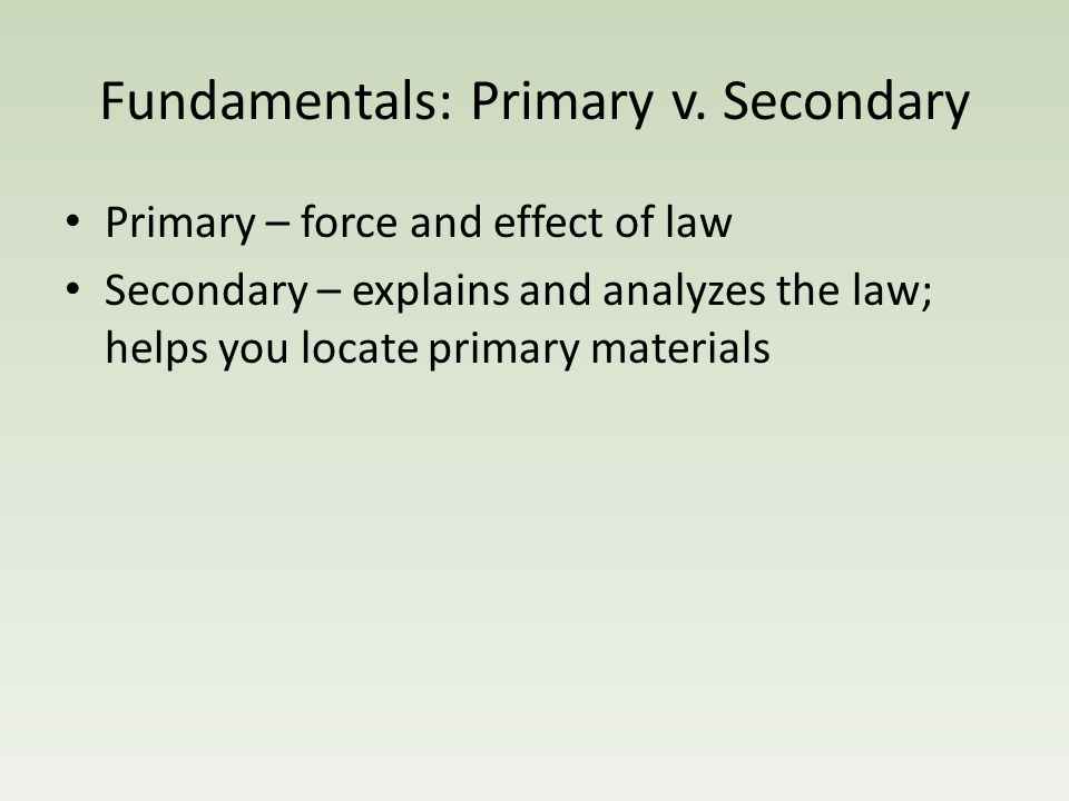 Fundamentals: Primary v.