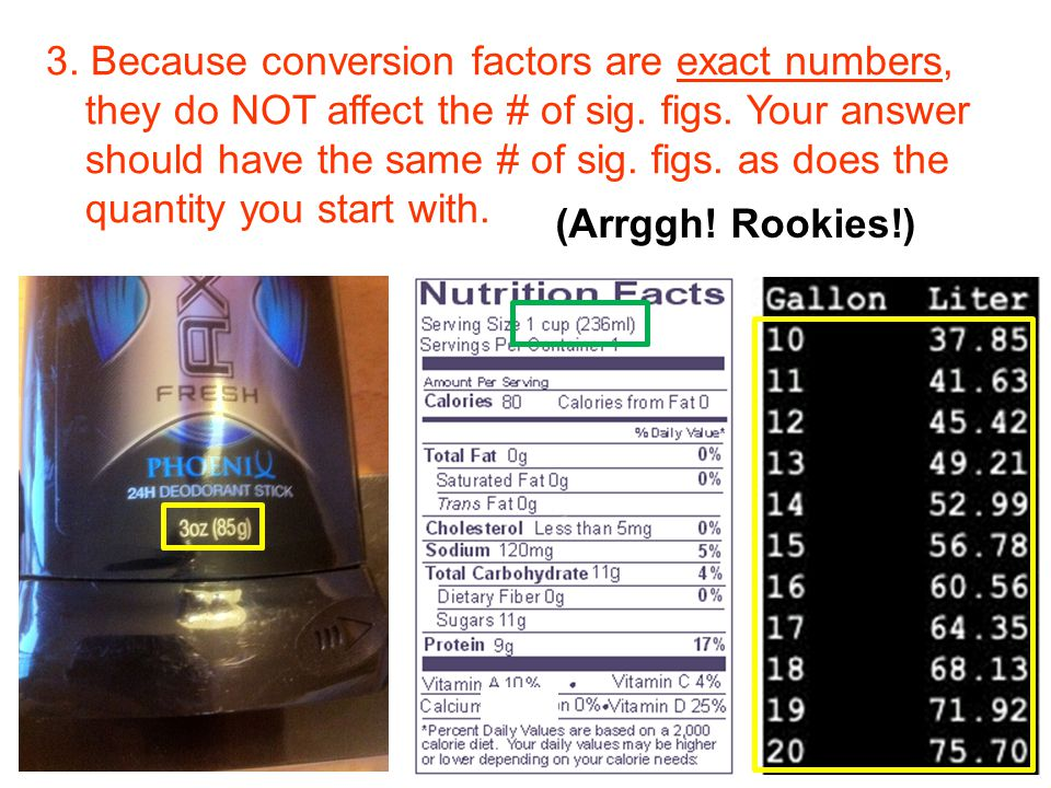 3. Because conversion factors are exact numbers, they do NOT affect the # of sig. figs. Your answer should have the same # of sig. figs. as does the q