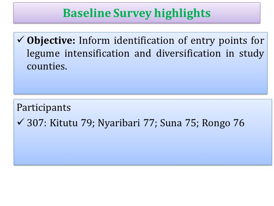 Baseline Survey highlights Objective: Inform identification of entry points for legume intensification and diversification in study counties. Particip