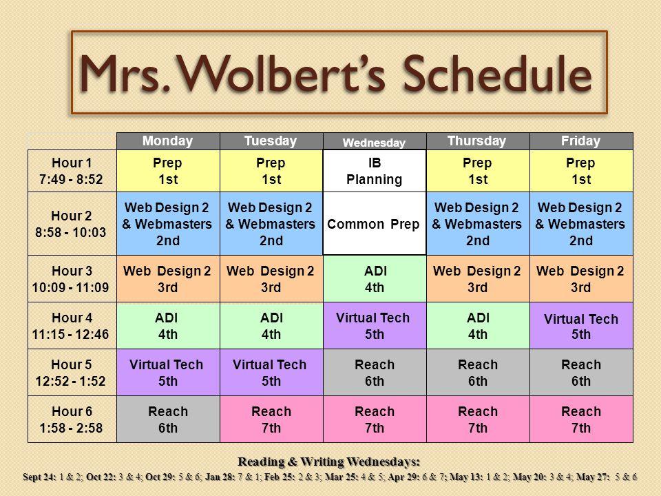 Mrs. Wolbert MondayTuesdayWednesday *early start only ThursdayFriday Period 1 7:49-8:52 1st Prep 1st Prep 7:49- 8:34* Reading 1st Prep 1st Prep 8:40-9