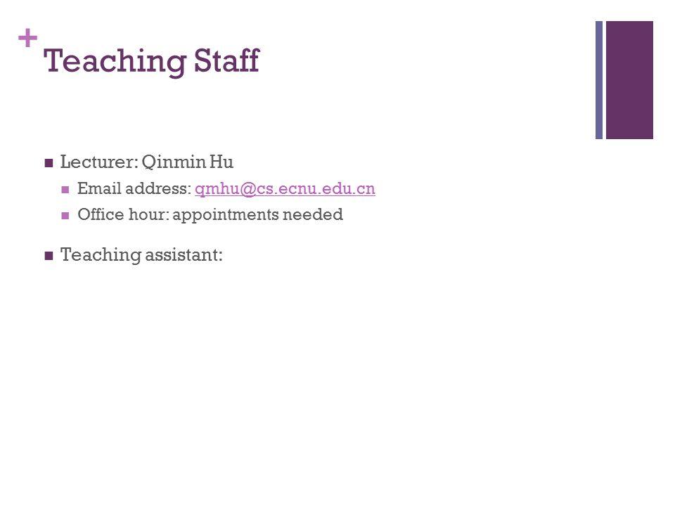 + Teaching Staff Lecturer: Qinmin Hu Email address: qmhu@cs.ecnu.edu.cnqmhu@cs.ecnu.edu.cn Office hour: appointments needed Teaching assistant: