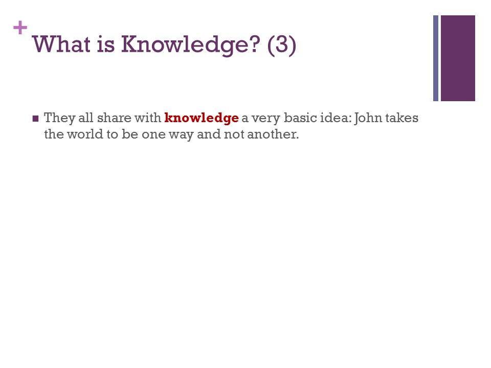+ What is Knowledge.
