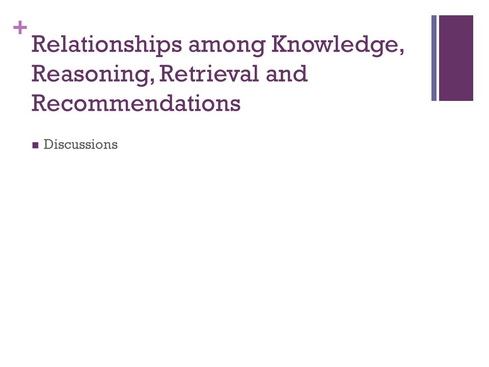 + Relationships among Knowledge, Reasoning, Retrieval and Recommendations Discussions