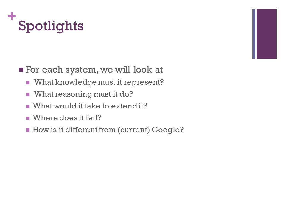 + Spotlights For each system, we will look at What knowledge must it represent.