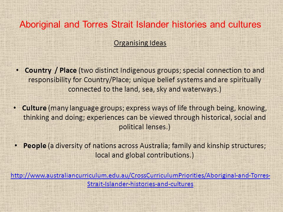 Aboriginal and Torres Strait Islander histories and cultures Organising Ideas Country / Place (two distinct Indigenous groups; special connection to a