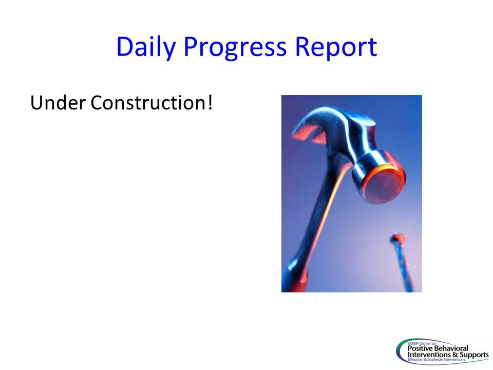 Daily Progress Report Under Construction!