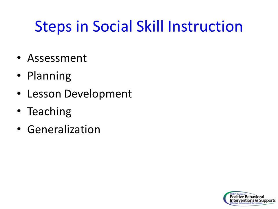 Steps in Social Skill Instruction Assessment Planning Lesson Development Teaching Generalization