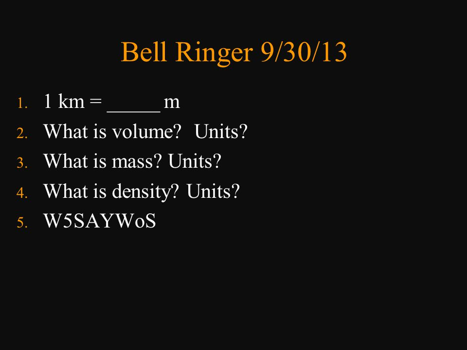 Bell Work 9/27 – 5 minutes 1.