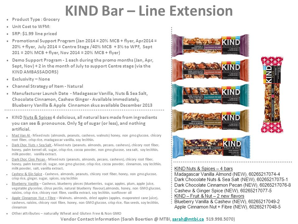 KIND Bar – Line Extension Product Type : Grocery Unit Cost to WFM: SRP: $1.99 line priced Promotional Support Program (Jan 2014 = 20% MCB + flyer, Apr