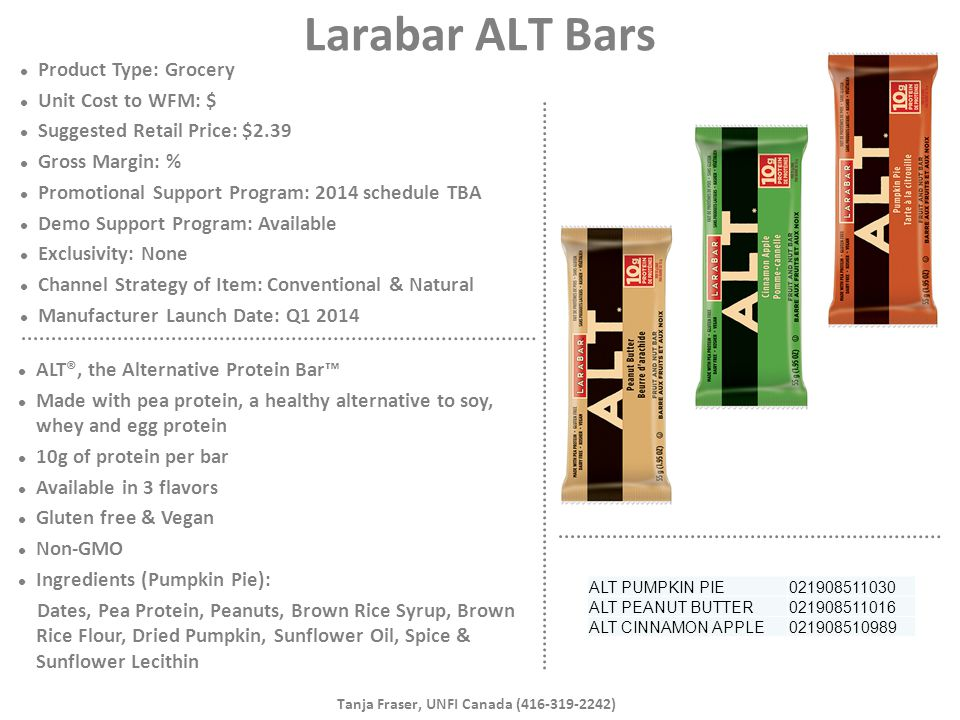 Larabar ALT Bars Product Type: Grocery Unit Cost to WFM: $ Suggested Retail Price: $2.39 Gross Margin: % Promotional Support Program: 2014 schedule TB