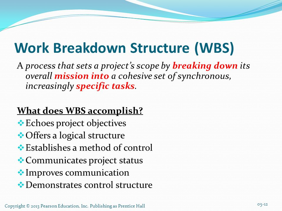 Work Breakdown Structure (WBS) A process that sets a project's scope by breaking down its overall mission into a cohesive set of synchronous, increasi