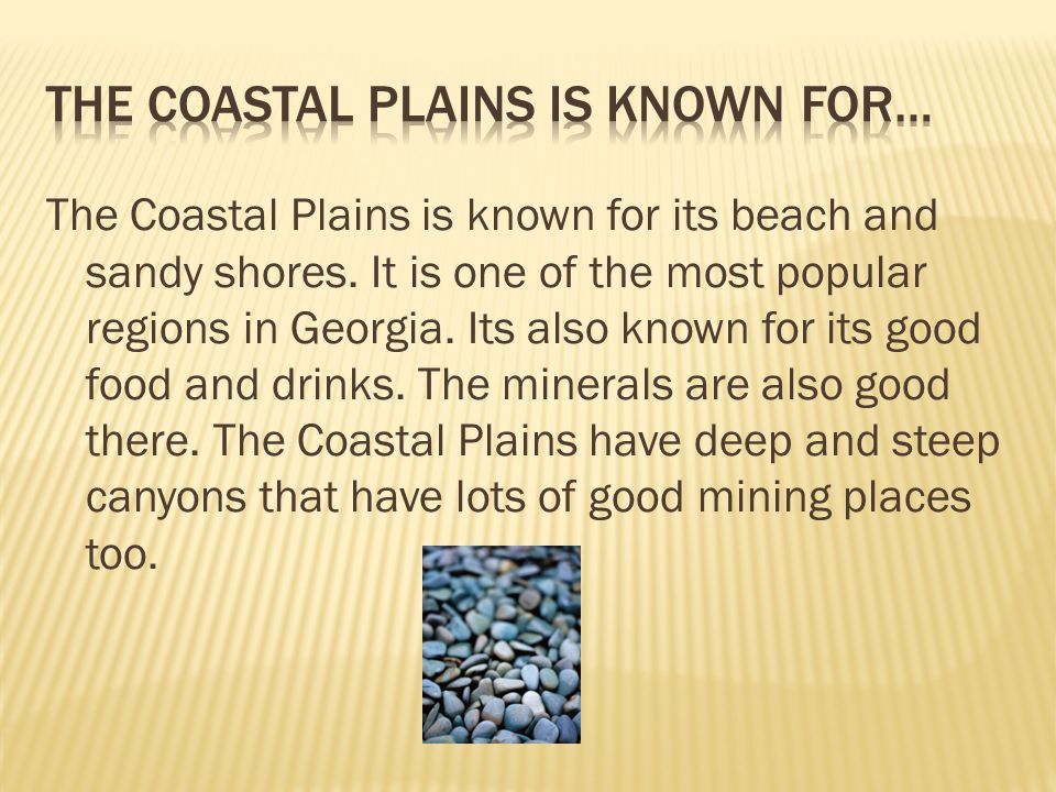 The Coastal Plains is known for its beach and sandy shores.