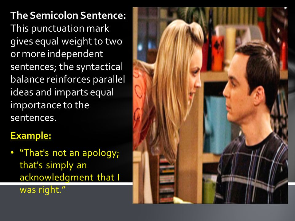 The Semicolon Sentence: The Semicolon Sentence: This punctuation mark gives equal weight to two or more independent sentences; the syntactical balance reinforces parallel ideas and imparts equal importance to the sentences.