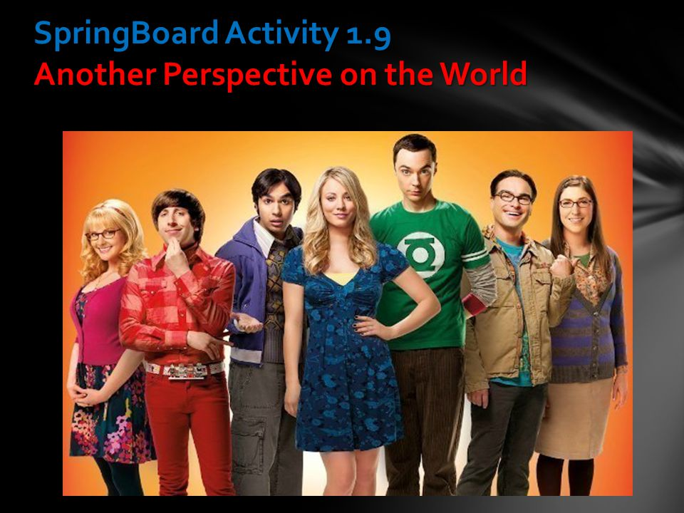 SpringBoard Activity 1.9 Another Perspective on the World
