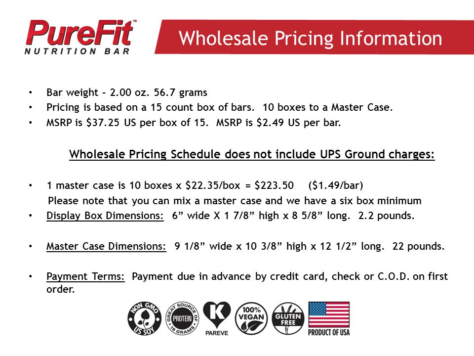 Wholesale Pricing Information Bar weight – 2.00 oz.
