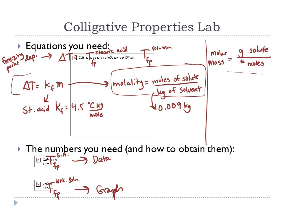 Colligative Properties Lab  Equations you need:  The numbers you need (and how to obtain them):