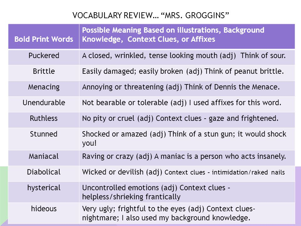 """VOCABULARY REVIEW… """"MRS. GROGGINS"""" Bold Print Words Possible Meaning Based on illustrations, Background Knowledge, Context Clues, or Affixes PuckeredA"""