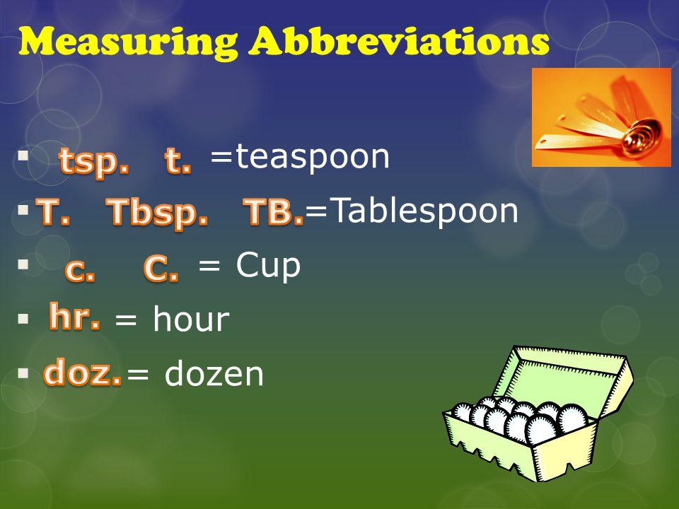 Measuring Abbreviations  =teaspoon  =Tablespoon  = Cup  = hour  = dozen