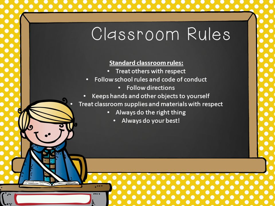 Standard classroom rules: Treat others with respect Follow school rules and code of conduct Follow directions Keeps hands and other objects to yourself Treat classroom supplies and materials with respect Always do the right thing Always do your best!