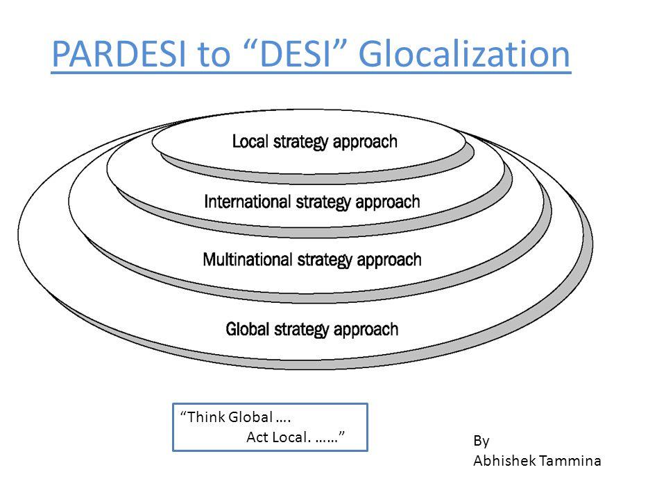 PARDESI to DESI Glocalization By Abhishek Tammina Think Global …. Act Local. ……