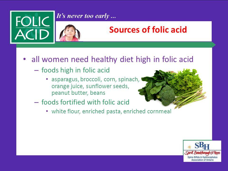 Sources of folic acid all women need healthy diet high in folic acid – foods high in folic acid asparagus, broccoli, corn, spinach, orange juice, sunf