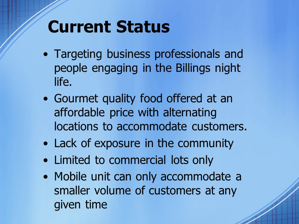 Current Status Targeting business professionals and people engaging in the Billings night life.