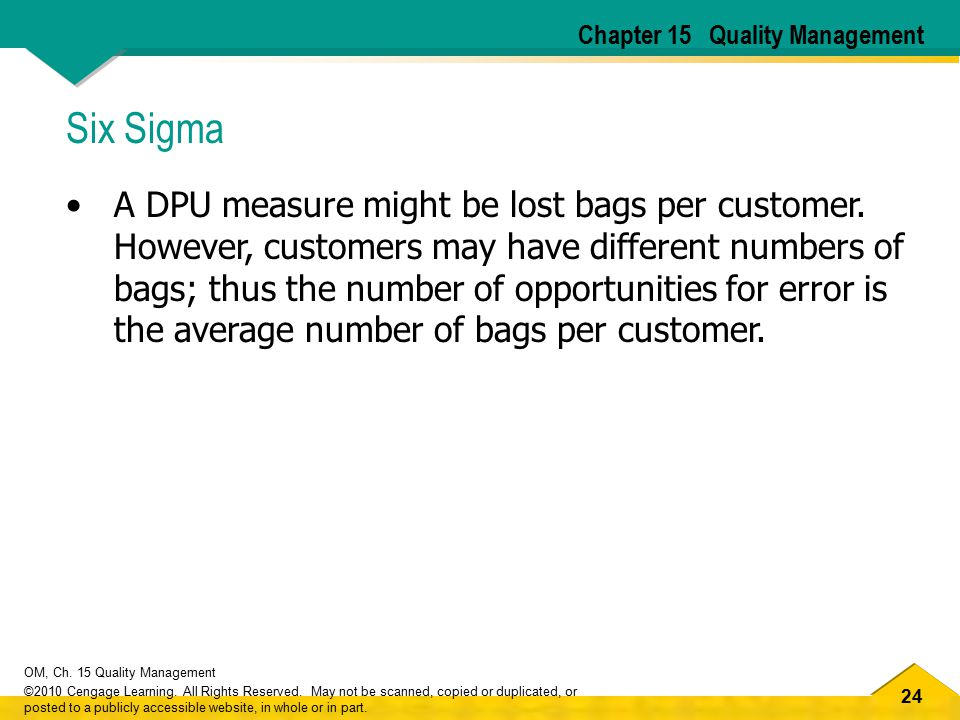 24 OM, Ch. 15 Quality Management ©2010 Cengage Learning. All Rights Reserved. May not be scanned, copied or duplicated, or posted to a publicly access