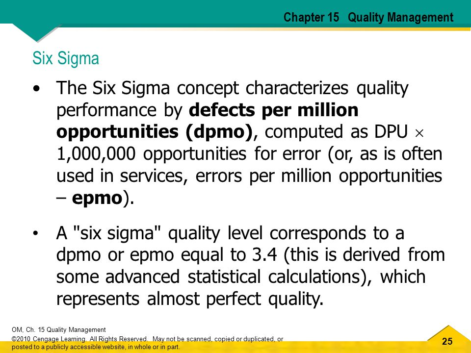 25 OM, Ch. 15 Quality Management ©2010 Cengage Learning. All Rights Reserved. May not be scanned, copied or duplicated, or posted to a publicly access