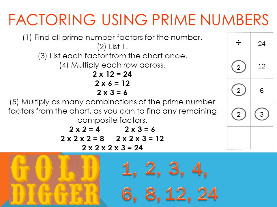 24 12 6 ÷ 2 2 FACTORING USING PRIME NUMBERS 32 (1) Find all prime number factors for the number.