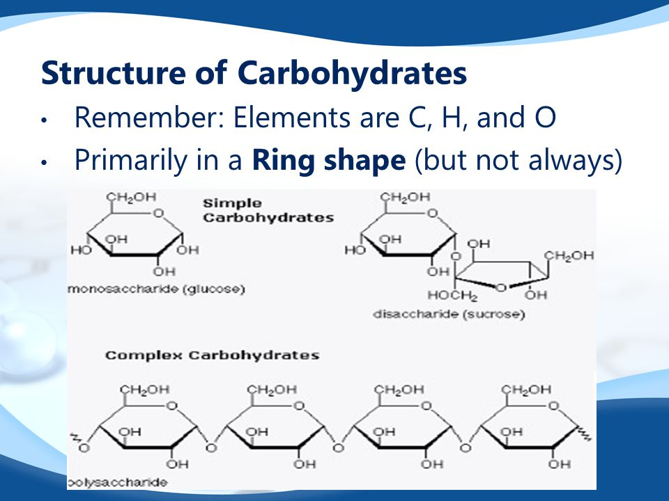 Structure of Carbohydrates Remember: Elements are C, H, and O Primarily in a Ring shape (but not always)