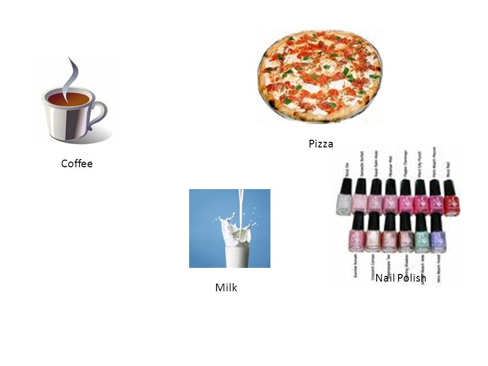 Mixture A combination of two or substances that are not chemically combined Coffee Soil Soup Pizza Milk Nail Polish