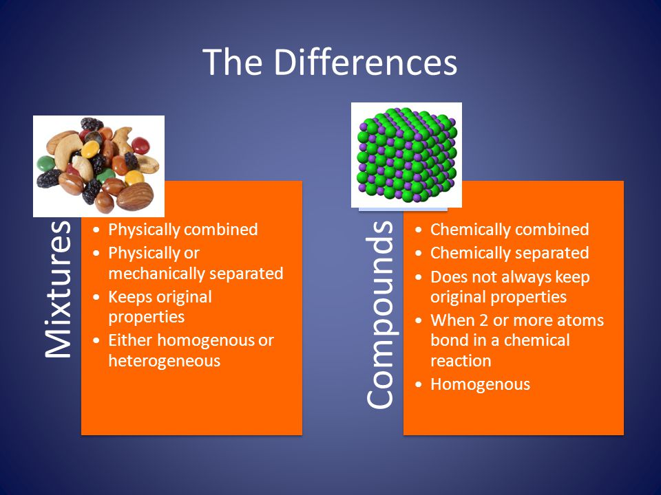 Compounds and Mixtures The difference between compounds and mixtures