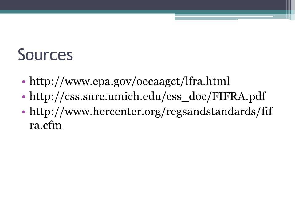 Sources http://www.epa.gov/oecaagct/lfra.html http://css.snre.umich.edu/css_doc/FIFRA.pdf http://www.hercenter.org/regsandstandards/fif ra.cfm