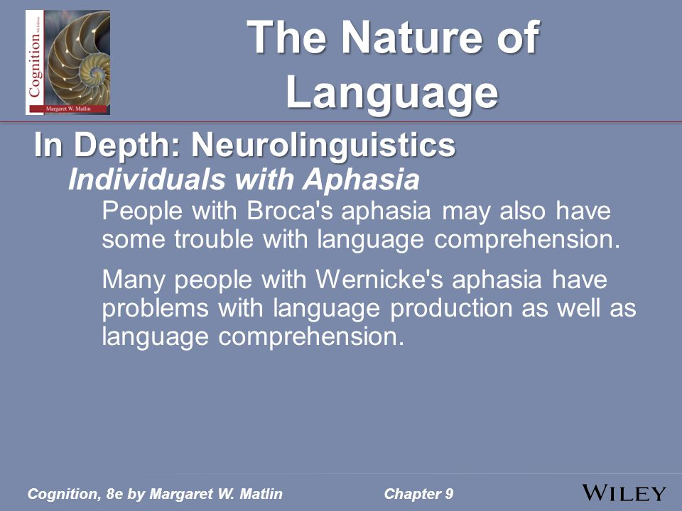 The Nature of Language In Depth: Neurolinguistics Individuals with Aphasia People with Broca's aphasia may also have some trouble with language compre