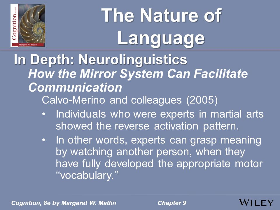 Cognition, 8e by Margaret W. MatlinChapter 9 The Nature of Language In Depth: Neurolinguistics How the Mirror System Can Facilitate Communication Calv