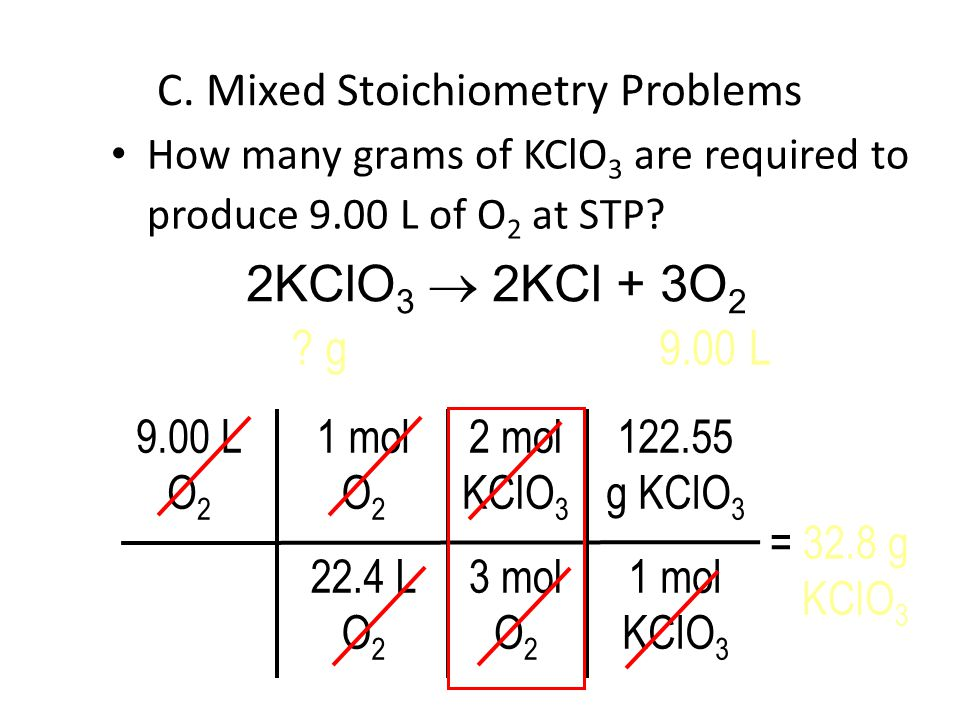 How many grams of KClO 3 are required to produce 9.00 L of O 2 at STP.
